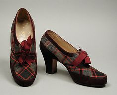Suede and plaid wool oxfords, by Delman for Bergdorf Goodman, American, c. 1942.