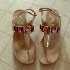 Anne Klein jeweled sandals Only worn a few times, good condition. Womens 6.5. Has a small heel to them :) Anne Klein Shoes Sandals
