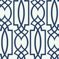 Navy geometric lattice wallpaper navy and white bedroom inspiration