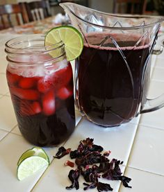 Agua de Jamaica/Detox: Ingredients  1 cup of dried  Jamaica (hibiscus flowers)  4 cups of boiling water  4 cups cold water  1/2 cup of sugar (optional)  1 lime for garnish -Or- Easy Agua de Jamaica (Hibiscus Flower Iced Tea)  Ingredients:   1 cup dried jamaica flowers 4 quarts water (about 16 cups)  1 to 1-1/2 cups sugar.