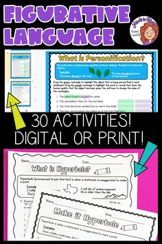 Figurative language is SUCH a fun English language arts topic to tackle with students! Kids love learning about onomatopoeias, hyperboles, idioms, personification, and more because they tend to be so silly and fun to read and write. This resource pack includes a variety of printables or Google Classroom digital versions that you can use to teach and practice figurative language in your upper elementary classroom. You definitely want to click through to grab this ELA activity pack for your… Language Activities, Classroom Activities, Figurative Language Activity, English Language Arts, Google Classroom, Idioms, Upper Elementary, Teaching Tips, Teaching English