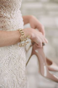 Nude shoes with lace dress.