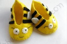 Bumble Bee Baby Booties