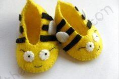 Bumble Bee Baby Booties