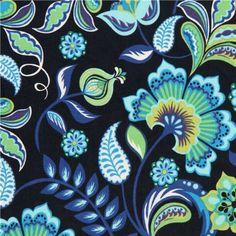 dark blue flower corduroy fabric by Robert Kaufman USA 1