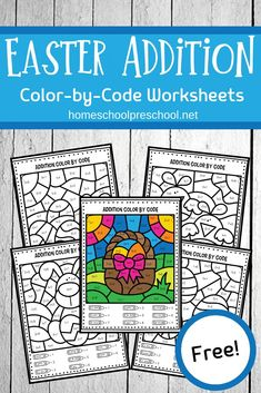As spring rolls around, don't miss these Easter addition worksheets for kindergarten! Practice addition facts and use the color code to finish each picture! Kindergarten Addition Worksheets, Easter Worksheets, Kindergarten Stem, Kindergarten Colors, School Worksheets, Free Activities For Kids, Easter Activities, Spring Activities, Learning Activities