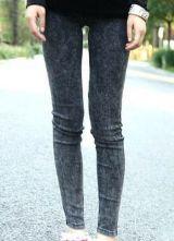 #sheinside  Black Skinny Snow Dot Elasic Denim Leggings $29.6