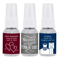 Whether purchased alone or with a matching hand lotion, these personalized hand sanitizers are sure to make a statement. What could be a more practical favor for any event? Proudly made in the USA! Elegant apothecary style bottle with spray top. Contains 75% isopropyl alcohol (higher than the CDC's recommendations). Made in accordance with FDA Guidelines for consumer and healthcare personnel use. Enriched with moisturizers. No fragrance added. Personalized Party Favors, Hand Lotion, Moisturizers, Coffee Bottle, Hand Sanitizer, Apothecary, Health Care, Fragrance, Alcohol