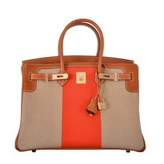 HERMES 35CM Flag AN ICONIC PERMABRASS HARDWARE LIMITED EDITION JaneFinds   From a collection of rare vintage top handle bags at https://www.1stdibs.com/fashion/handbags-purses-bags/top-handle-bags/
