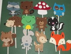 12 Woodland Animal Cupcake Toppers, Diaper Cake decorations, woodland baby shower, Owl, Frog, Skunk, Fox, Deer, Beaver, Hedgehog, Mushroom on Etsy, $9.60