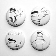 Pin Button Badge Set of Four  Oui Bonjour Ooh La La by poosac, £4.00
