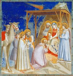 01 Giotto di Bondone. The Adoration of the Magi. Cappella Scrovegni a Padova. Padova ITALY. 1305