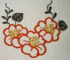 Hand Embroidery Patterns Flowers, Border Embroidery Designs, Hand Embroidery Videos, Crewel Embroidery, Cross Stitch Embroidery, Machine Embroidery Designs, Hawaiian Quilt Patterns, Fabric Painting, Couture