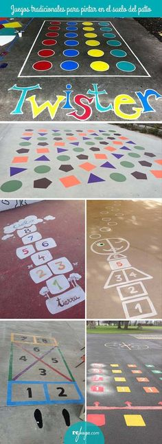 Traditional games to paint on the floor of the schoolyard Playground Games, Playground Flooring, Outdoor Playground, Kids Outdoor Play, Outdoor Fun, Fun Games For Kids, Diy For Kids, Daycare Design, Outside Games