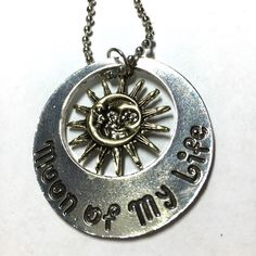 Two-sided moon and sun necklace Two-sided necklace my son and my stars moon of my life 18 inch chain Jewelry Necklaces