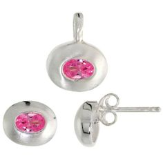 Sterling Silver Matte-finish Oval-shaped Earrings (7mm tall) & Pendant (13mm tall) Set, w/ Oval Cut Pink Tourmaline-colored CZ Stones Sabrina Silver. $35.63