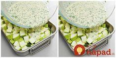 Ideálna príloha, alebo pokojne aj hlavné jedlo na teplé dni. Navyše, pripravíte ju veľmi rýchlo a skutočne jednoducho. Stačí len nakrájať, zaliať omáčkou a šup do rúry. :-) Cobb Salad, Ham, Potato Salad, Good Food, Food And Drink, Veggies, Low Carb, Snacks, Dinner