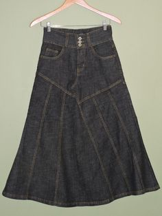 Fashionable Long Black Denim Stretch Skirt Sz Medium NWT #Other #LongSkirt