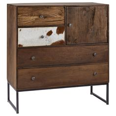Atelier - Griffintown - Reclaimed wood and cowhide cabinet, 4 drawers and 1 door Furniture Decor, Modern Furniture, Buffet Cabinet, Stylish Home Decor, Window Coverings, Decoration, Things To Buy, Drawers, Bouclair