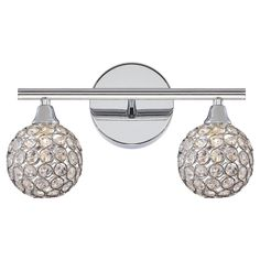Quoizel Platinum Collection Shimmer PCSR8602C 2 Light Bathroom Vanity Light - Gleaming through its crystal shades, the Quoizel Platinum Collection Shimmer PCSR8602C 2 Light Bathroom Vanity Light is ready to add a unique touch...