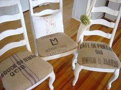 burlap coffee bag curtains | Found on potatoboutique.blogspot.com