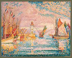 """Paul Signac (1863-1935) """"Lighthouse at Groix"""""""