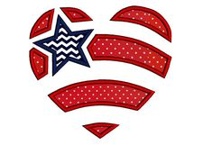 Star, stripes and heart applique design in 4 sizes. 4th of July applique design. Instant download American flag machine embroidery design.