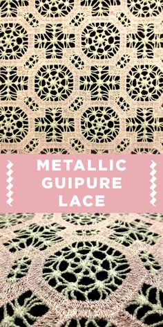 Pastel Pink Geometric Metallic Guipure Lace