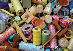 tape, twine, stamps, ink... so much crafty goodness