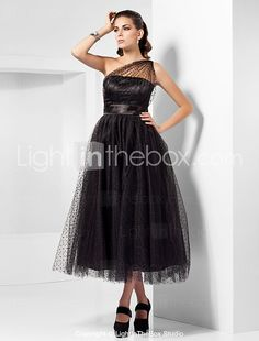 A-line One Shoulder Tea-length Tulle Cocktail Dress Inspired By Kaley Cuoco At The Emmys - GBP £ 92.28