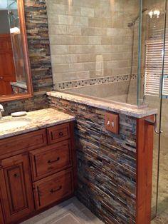 Elegantly rustic master bathroom with dry-stacked stone backsplash. http://www.callierandthompson.com