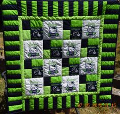 Seattle Seahawks Baby Quilt Lap Quilt Hello by UltimateQuilts