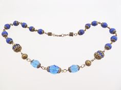 Czech faux lapis and blue crystal glass bead necklace. 30s