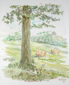 Artist Adron. This is a sketch in watercolor from a visit to Luray VA. You can read about it at my Blog. http://artistadron.blogspot.com/2012/07/view-of-summer-fields-in-luray.html