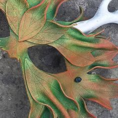 Autumn Green Man Leather Mask with Antlers by MythicalDesigns