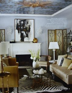 Grey, Gold, Beige, Black Color Palette  from Finding Soul Balance - very elegant looking - is that cheetah print on the ceiling?! OMG I LOVE IT!!! what a unique and different way to play with finishes - ON THE CEILING!