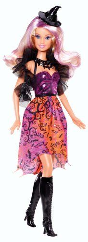 Barbie 2013 Halloween Barbie Doll: Celebrate Halloween with Barbie. Barbie doll comes ready to Trick or Treat in a witch's costume with cute bat-themed print. She's even got an adorable classic black ...