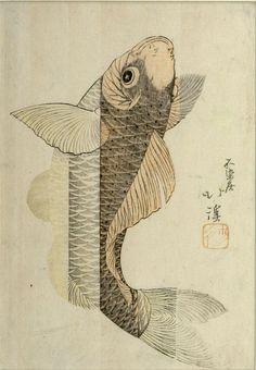 Totoya Hokkei Title:Carp Climbing a Waterfall, Edo period, circa early 19th century
