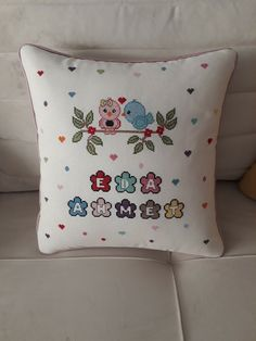 Hand Embroidery Stitches, Cross Stitch Embroidery, Cross Stitch Patterns, Recycled Crafts, Diy And Crafts, Cross Stitch Cushion, Cross Stitch Love, Pillow Design, Cross Stitching