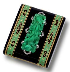 An art deco enamel, jadeite jade, and diamond compact case, circa 1925
