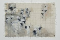 """Jane Rosen """"Quilted Lamb,"""" 2010 Korean watercolor, sumi-e ink, and coffee on Japanese paper"""