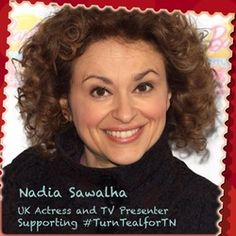 Thank you Nadia Sawalha for wearing teal on awareness day Trigeminal Neuralgia, English Actresses, The Cure, Facial, Teal, British, Magazine, How To Wear, Facial Treatment