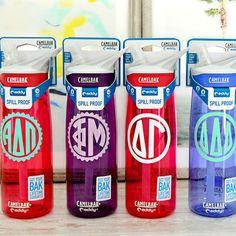 Sorority Monogram Camelbak Water Bottles - Big Little Reveal - Big Little Gift - Delta Gamma - Delta Delta Delta - Phi Mu - Alpha Delta Pi - Cute Sorority Water Bottle