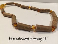 Honey Hazelwood 11 inch (For GERD, Colic, Eczema) Polished mixed with Baltic Amber Necklace for Baby, Infant.