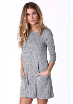Easy Breezy Mini Dress in Heather grey | Necessary Clothing // Love that this has TWO pockets!