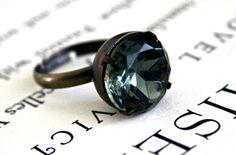 Vintage Black Diamond Glass Jewel Ring, Oxidized Brass, Fall Fashion, Smoky Gray, Czech Glass, Estate Style Ring. $28.00
