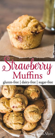 Deliciously moist strawberry muffins make for a great breakfast, brunch or quick snack. Gluten-free, Dairy-free, Sugar-free, THM-S, Keto