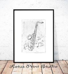Abstract Saxophone Drawing Print Creative Art Black & White