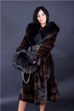 Mink & Fox Fur Coat. Cute Foxy Muff