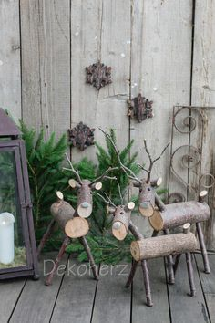 Sweet Christmas decoration to make yourself. Source: dec - Craft For Teenagers Creative Noel Christmas, Outdoor Christmas, Rustic Christmas, All Things Christmas, Winter Christmas, Christmas Ornaments, Winter Snow, Christmas Lights, Reindeer Christmas